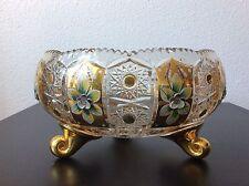 Coupe tripode en cristal taillé émaillé de Bohème Bohemia enamelled crystal