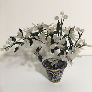 Chinese Vintage Carved Natural Clear Jade Flower Tree with Cloisonne Pot
