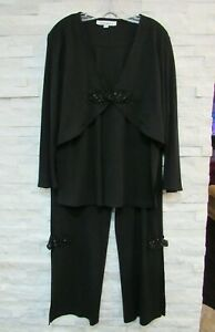 Caroline Rose Black Stretch Jersey Beaded Knots Layered Top & Pants Set Outfit L