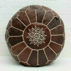 MOROCCAN LEATHER POUF, CHOCOLATE MOCHA OILED Leather Ottoman Footstool Pouf