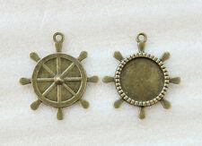 10PCS Antiqued bronze Boat Steering Wheel Cabochon Settings Pendant Trays #23481