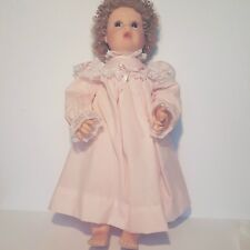 Elaine Campbell Doll Bunny 1990 18inches Glass Eyes Open Mouth Pink Gown