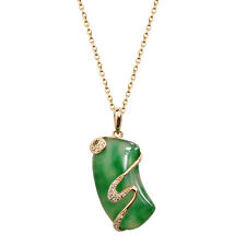 Fashion Jewelry - 18K Rose Gold Plated Jade Necklace (FN062)