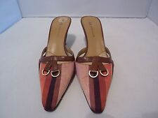 AK Anne Klein Canvas/Leather Low Heel Pumps Mules Brown/Rust/Beige Sz 7 M