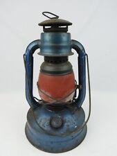 Vintage Dietz USA No.100 Blue Kerosene Lantern with red glass globe Farm fresh