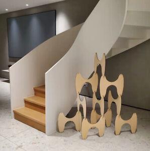 Mid Century Modern Modular Sculptural Room Divider. Wood Minimalist Contemporary