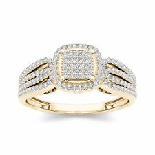 14k Yellow Gold 0.35Ct Round Cut Diamond Halo Cluster Engagement Ring HI I2 Size