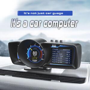 "3.5"" Double Screen OBD2+GPS Smart Car Speedometer Head-Up HUD Gauge Turbo Boost"