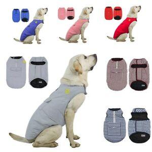 Double-Sided Warm Dog Coat Clothes Padded Vest Pet Jacket Medium/ Large Winter