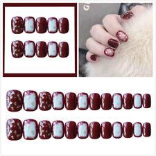 Nail Art Accessories Full Tips Fake Nails Gold Glitter Acrylic Short Red 24pcs