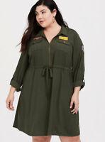 HER UNIVERSE CAPTAIN MARVEL OLIVE PATCHWORK SHIRT DRESS ~ Sizes 00/0/1/2 ~ NWT