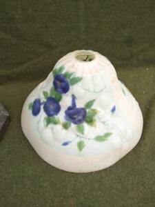 Antique Mission Era Art Nouveau Reverse Painted Glass Lamp Shade Puffy Flowers