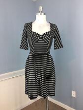 BEBE XS Black White Stripe Flare dress cap sleeve stretch Career Party