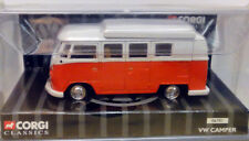 ANCIENNE VOITURE CORGI VAN VOLKSWAGEN VW CAMPING MINIBUS VERMILLON/BLANC, 1/43e