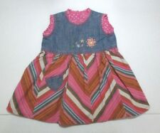 GIRLS OILILY BLUE & PINK DENIM DSTRIPED FLORAL EMBROIDERED DRESS SIZE 12-18 MON