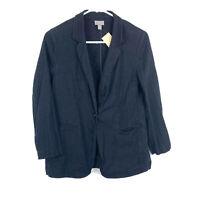 J Jill Black Single Button Blazer Linen Blend Coat Jacket Size XS Petite