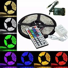 5M SMD 5050 RGB LED Strip Light + Power Supply Adapter IR Remote Waterproof Kit