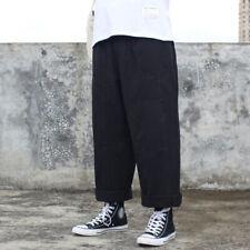 UK Mens Japanese Straight Loose Fit Cargo Pants Trousers Slacks Bottoms Wide Leg