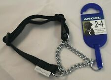 "ANCOL Size 2-4 Black Fabric Collar With Chain 18""/42cm Code 158710 BRAND NEW"