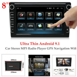 8 INCH Ultra Thin Android 9.1 Car Stereo MP5 Radio Player GPS Navi Wifi 1+16GB