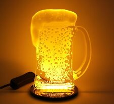 Man Cave Home Bar LED Realistic Foamy Beer Stein Glass Night Light Mug Sign