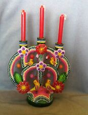 Vtg Pink Mexican Tree of Life Candlestick - w/Flowers& Birds, Mexican Folk Art