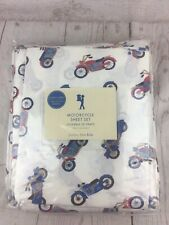 New  Pottery Barn Kids Motorcycle Twin Sheet Set Red Blue White HTF
