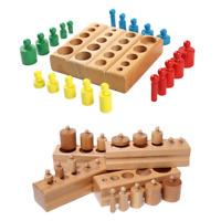 Montessori Zylinder Blöcke Holzblöcke mit Brett Kinder Lernspiel 4 Sätze Knobbed
