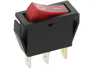 SLIM Rocker Switch 16A 240V 20A125V RED ON-OFF Double Pole 3 Pin ILLUMINATED