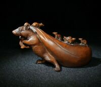 chinese old boxwood hand carved auspicious mouse statue netsuke decoration gift