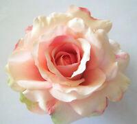 "5/"" Variegated Salmon Pink Rose Silk Flower Hair Clip Pin-Up Updo Bridesmaid"