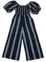 COUNTRY ROAD | Women's Jumpsuit | Puffy Sleeves | Blue White Stripes | Size: 10