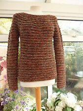 STUNNING *JAEGER* TAN THICK CHUNKY KNIT WOOL BLEND JUMPER WITH GOLD THREAD Sz S