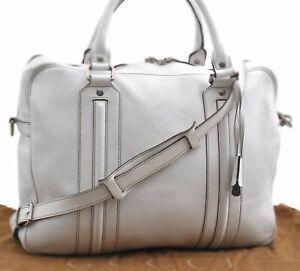 Authentic GUCCI Briefcase 2Way Shoulder Business Bag Leather 231850 White D1683