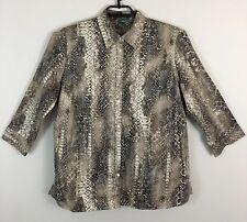 Ralph Lauren LRL Womens Shirt Blouse Brown Plus Size 1X Snakeskin 3/4 Sleeve