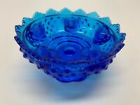 Vintage Fenton Cobalt Blue  Hobnail Glass Pedestal Flower Bowl 6 Candle Holder