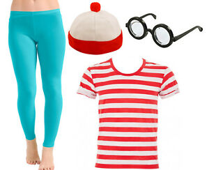 RED AND WHITE STRIPE T-SHIRT HAT GIRLS  WORLD BOOK DAY WEEK FANCY DRESS COSTUME