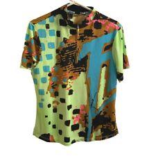 Jamie Sadock Womens Large Short Sleeve 1/4 Zip Golf Shirt Bright Green Gold Trim