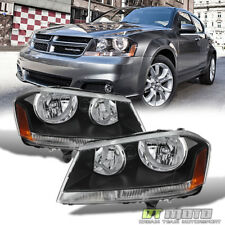 Black 2008-2014 Dodge Avenger Headlights Headlamps Replacement 08-14 Left+Right (Fits: Dodge Avenger)