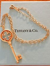 "Tiffany & Co. Quatrofoil Key 2"" Diamond Pendant 16"" Tiffany Necklace 18k Gold"
