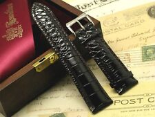 24mm Dark Brown Leather Croco Watch Replacement Strap With 2 Spring Bar