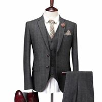 Charcoal Gray Men's Wool Suit Tweed Herringbone Casual Party Tuxedo Wedding Suit