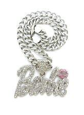 """New Barbie Pendant & 9mm 18"""" Cuban Link Chain Necklace Set"""