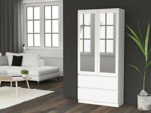 MODERN 2 Door Storage Wardrobe With Mirror, Shelves And 2 Drawers - White