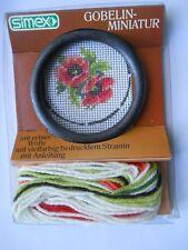 """Gobelin-Miniatur """"Blumen"""" zum selbst sticken mit Anleitung, Rahmen, Nadel, Wolle"""
