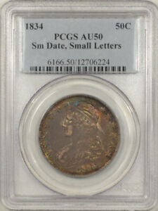 1834 CAPPED BUST HALF DOLLAR - SMALL DATE & LETTERS - PCGS AU-50 PRETTY!