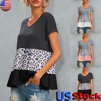 Women V Neck Leopard Print Short Sleeve T-Shirt Casual Loose Ruffle Blouse Top