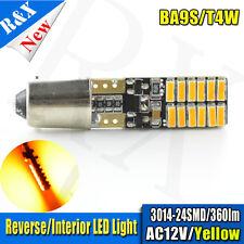 1x BA9S 24SMD 3014LED Amber/Orange CANBUS Error Free Interior Car H6W Light Bulb