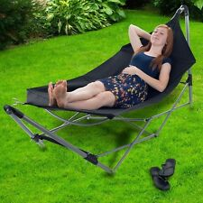 Portable Hammock, 8 ft Canvas w/Folding Aluminum Stand & Easy Carry Tote Bag