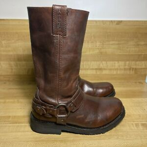 Harley Davidson Brown Leather Motorcycle Harness Moro Boots 91329 Men's 7.5